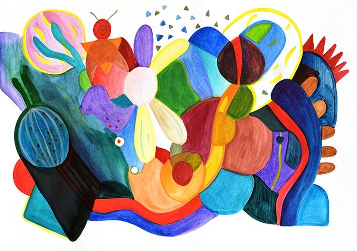 Ce dessin fait partie de la série AFTERNOON PAINTINGS. Réalisé au pinceau à la peinture aquarelle sur papier format A3. Il est composé de diverses formes géométriques à la représentation libre. On y distingue quelques animaux imaginaires dans un paysage onirique. Composition abstraite aux couleurs vives et contrastées, jaune, orange, rouge, rose, noir, violet, marron, beige et divers nuance de bleu et de vert.
