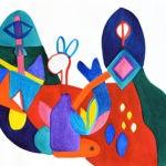 Ce dessin fait partie de la série AFTERNOON PAINTINGS. Réalisé au pinceau à la peinture aquarelle sur papier format A3. Il est composé de diverses formes géométriques et symboles à la représentation libre. On y distingue quelques animaux imaginaires dans un paysage onirique. Composition abstraite aux couleurs vives et contrastées, jaune, orange, rouge, violet, rose diverse nuances de bleu et de vert.