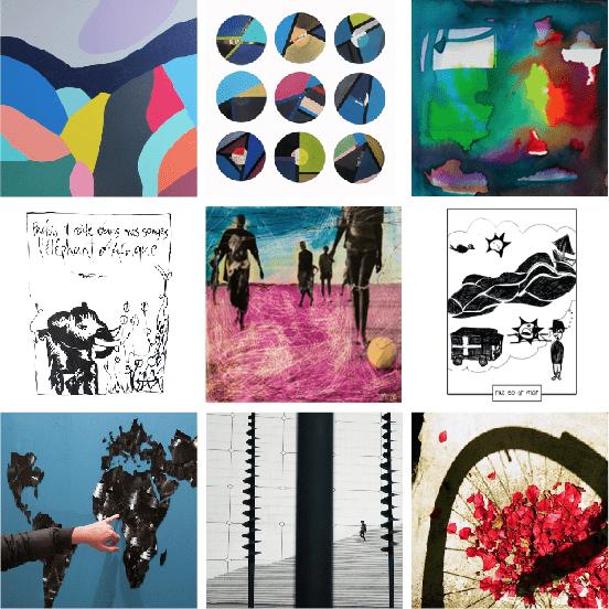 patchwork des oeuvres de morgan le ruyet pour illustrer les créations artistique du site internet créativité et conscience.