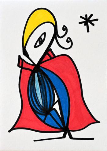 Dessin figuratif au style enfantin réalisé au marqueur à l'huile. Format 14,8 par 21 centimètres. Une série qui aborde le dessin par ses 5 couleurs de base. Les 3 primaires, rouge, bleu, jaune et les 2 basiques blanc et noir. On peut voir un personnage, vêtu d'une cape rouge, et une combinaison bleue. Il a les cheveux jaune, deux petites mèches qui rebiquent derrière sa tête, un œil allongé, et un bec noir. En haut à droite, se trouve une étoile en forme d'astérisque noire.