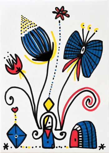 Dessin figuratif au style enfantin réalisé au marqueur à l'huile. Format 14,8 par 21 centimètres. Une série qui aborde le dessin par ses 5 couleurs de base. Les 3 primaires, rouge, bleu, jaune et les 2 basiques blanc et noir. Sur ce dessin on peut voir une sorte de petit personnage abstrait en bas au centre, à gauche de celui-ci, se trouve un losange bleu surmonté d'un petit cœur rouge et à gauche une sorte de porte imaginaire rouge et bleue. Au centre du dessin, au-dessus du personnage, on peut voir 4 grandes fleurs imaginaires qui remontent en corolle jusqu'en haut du dessin.