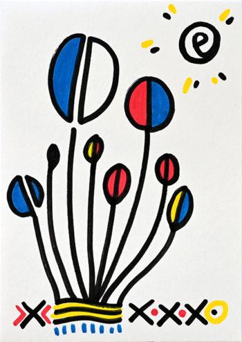 Dessin figuratif au style enfantin réalisé au marqueur à l'huile. Format 14,8 par 21 centimètres. Une série qui aborde le dessin par ses 5 couleurs de base. Les 3 primaires, rouge, bleu, jaune et les 2 basiques blanc et noir. On peut voir 8 fleurs, elles sont composées de différentes formes géométriques de formes arrondies séparées en 2 par un trait noir. Les tiges sont noires plus ou moins longues et assemblées en bouquet. Le sol est lui composé de formes géométriques diverses comme des croix, des point, des lignes horizontales ondulées et des petits très bleu à la verticale. Dans le ciel, il y a un soleil en haut à droite.
