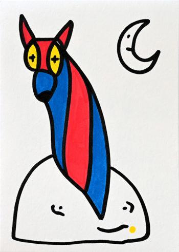 Dessin figuratif au style enfantin réalisé au marqueur à l'huile. Format 14,8 par 21 centimètres. Une série qui aborde le dessin par ses 5 couleurs de base. Les 3 primaires, rouge, bleu, jaune et les 2 basiques blanc et noir. Sur ce dessin, on peut voir un loup assis sur un rocher blanc avec un visage qui souris. Ce loup est assis de profil et nous regarde, il a de grands yeux jaunes, un visage et des oreilles rouges, et un museau bleu. Son corps est composé de trois bandes verticales de couleurs alternant avec du bleu et du rouge. En haut à gauche, il y a un croissant de lune blanc avec un visage.