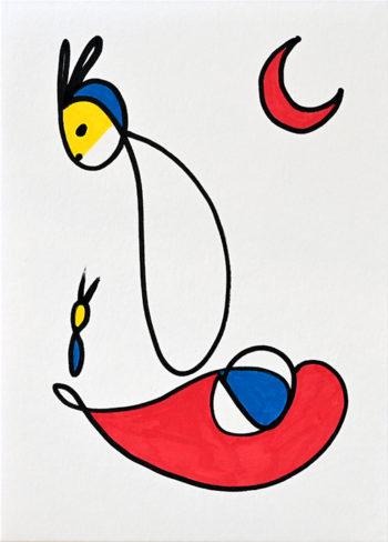 Dessin figuratif au style enfantin réalisé au marqueur à l'huile. Format 14,8 par 21 centimètres. Une série qui aborde le dessin par ses 5 couleurs de base. Les 3 primaires, rouge, bleu, jaune et les 2 basiques blanc et noir. Au centre du dessin se trouve un animal imaginaire. Il possède des oreilles de lapins, un crâne bleu et le haut du visage jaune, son corps en forme de goutte blanche n'a ni jambes ni bras. À sa gauche, on distingue un animal similaire de très petite taille. Ils semblent flotter tous deux sur une forme géométrique composée de rouge, blanc et bleu. En haut à gauche se trouve un croissant de lune rouge.