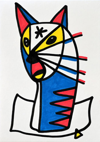 Dessin figuratif au style enfantin réalisé au marqueur à l'huile. Format 14,8 par 21 centimètres. Une série qui aborde le dessin par ses 5 couleurs de base. Les 3 primaires, rouge, bleu, jaune et les 2 basiques blanc et noir. On peut voir le portrait d'un animal imaginaire appartenant à la famille des félins ou des canidés. Il est composé de formes géométriques abstraites, des oreilles pointues composé de deux triangles rouge et bleu, des yeux entouré de triangles jaunes, et beaucoup d'autre forme comme une étoile sur son front, des triangle rouge sur son cou bleu et blanc et de longue moustache aux pointes rouges.
