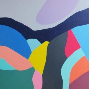 Peinture acrylique réalisé au couteau de 80 centimètres par 80 centimètres. Paysage onirique ou les couleurs et les formes remplacent les mots. Composition abstraite représentant un paysage de montagnes multicolore.