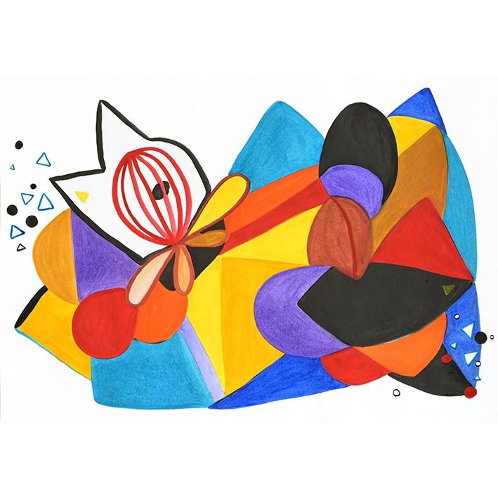 Dessin abstrait aux formes géométriques colorées réalisé à l'aquarelle.
