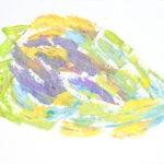 Dessin abstrait à la craie grasse. Dominance de jaune, vert clair, violet et bleu clair.