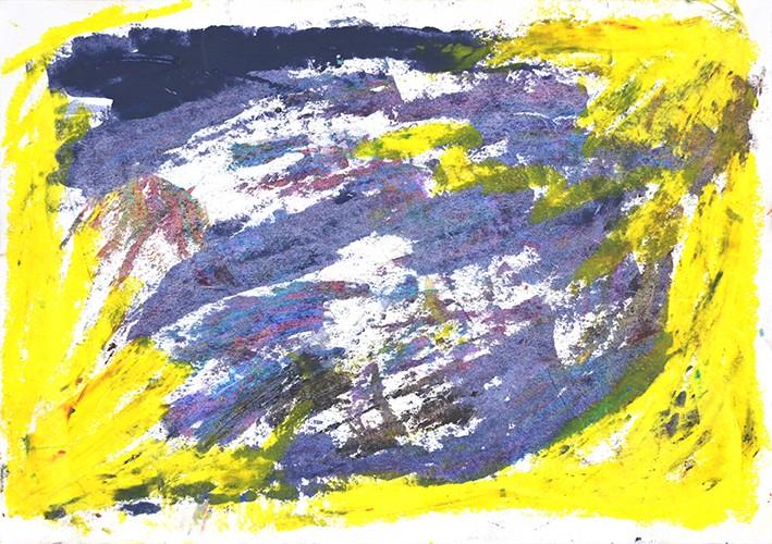 Dessin abstrait à la craie grasse. Jaune et violet..