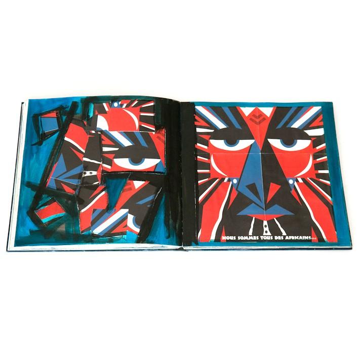 Atelier arts-plastiques pour adultes carnet de recherche. Collage noir bleu rouge et blanc.