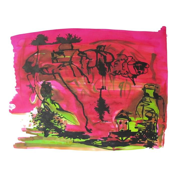 Dessin abstrait à l'encre de chine et encre aquarelle. Dominance de rose et de vert.
