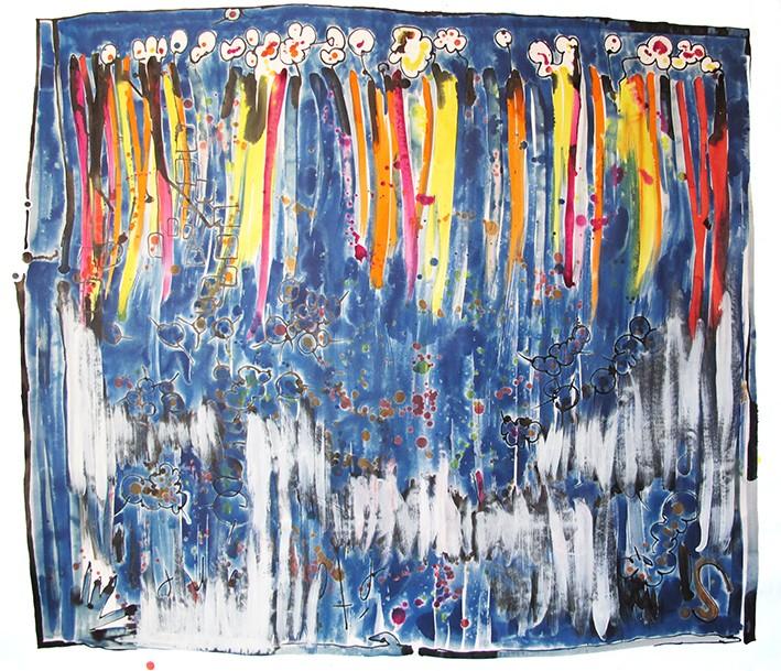 Dessin art abstrait grand format réalisé à l'encre aquarelle, encre de chine et acrylique. Dominance de bleu, orange et jaune.