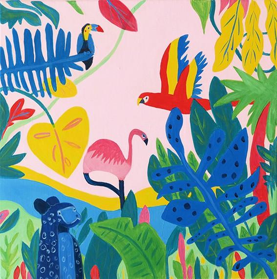 Peinture acrylique sur chassis représentant un paysage de jungle exotique colorées avec des animaux.