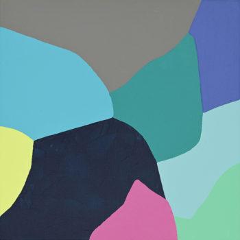 Peinture acrylique réalisée au couteau représentant un paysage onirique en format carré 20 centimètres par 20 centimètres sur carton entoilé. Un poème pictural où les formes et les couleurs remplacent les mots. Ce tableau est composé d'un ensemble de formes arrondies de différentes couleurs, gris, rose, jaune pâle, violet et différentes nuances de bleu et de vert.