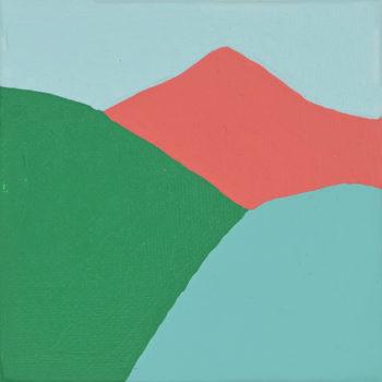 Peinture acrylique réalisée au couteau représentant un paysage onirique en format carré 10 centimètres par 10 centimètres sur carton entoilé. Un poème pictural où les formes et les couleurs remplacent les mots. Ce tableau suggère 3 montagnes surplombées d'un ciel bleu gris. À gauche une colline verte foncée, à droite une colline bleu gris et au fond du tableau une montagne en pic rouge corail.