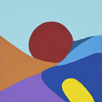 Peinture acrylique réalisée au couteau représentant un paysage onirique en format carré 15 centimètres par 15 centimètres sur carton entoilé. Un poème pictural où les formes et les couleurs remplacent les mots. Ce tableau se compose d'un mélange de couleur chaude et froide. En arrière-plan se profile un aplat bleu ciel, et un soleil rouge foncé en forme d'ellipse se couchant derrière une colline caramel. En bas du tableau et remontant sur la droite dans la diagonale, différentes montagnes dans les tons froids, du violet et différentes nuances de bleu, avec en son mileu une forme jaune arrondie qui vient donner de la lumière à cet ensemble.