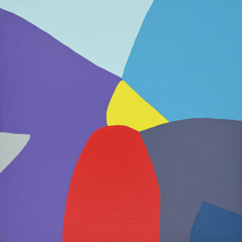 Peinture acrylique réalisée au couteau représentant un paysage onirique en format carré 30 centimètres par 30 centimètres sur carton entoilé. Un poème pictural où les formes et les couleurs remplacent les mots. Tableau construit dans les dominances de tons froids, violet, bleu, gris, et décinaison, en aplat assez volumineux seul se distingue au milieu de la toile un petit triangle jaune monté sur une forme arrondi rouge vif qui donne un peu de relief à la toile.