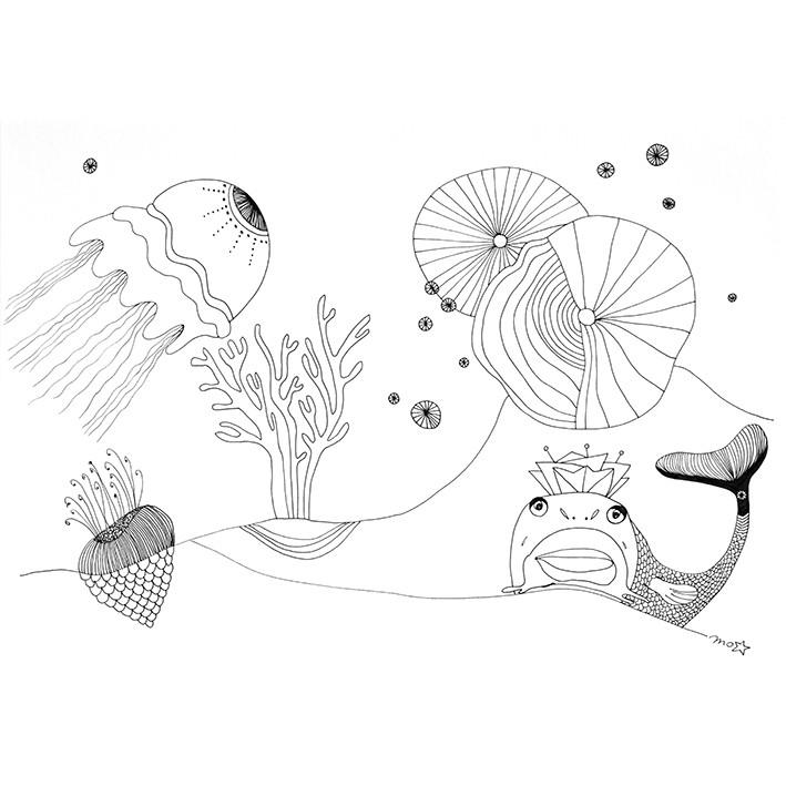 Dessin de la série pointe et plume de Morgan Le Ruyet. Paysage marin imaginaire.