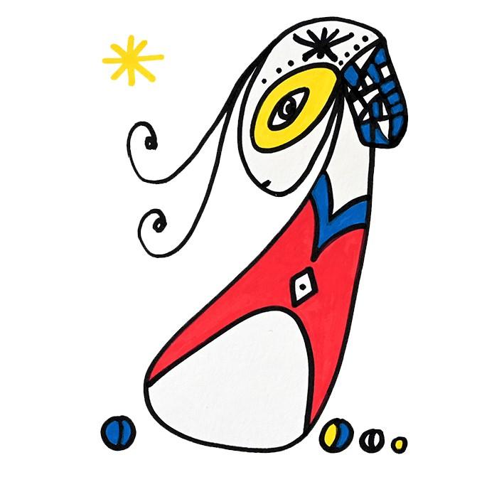 Dessin figuratif au style enfantin réalisé au marqueur à l'huile. Format 14,8 par 21 centimètres. Une série qui aborde le dessin par ses 5 couleurs de base. Les 3 primaires, rouge, bleu, jaune et les 2 basiques blanc et noir. On peut voir un personnage imaginaire féminin avec une mèche, un cercle jaune autour de son œil, un visage un peu long et de profil, habillé d'une veste rouge avec un col bleu. À droite d'elle, il y a trois petits ronds de couleur et un autre sur sa gauche. En haut à droite, se trouve une étoile en forme d'astérisque jaune.